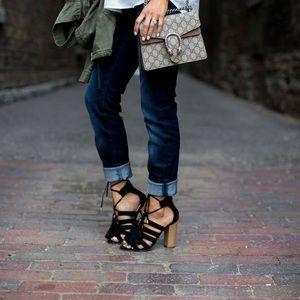 [ny & company] lace up tassel block sandals